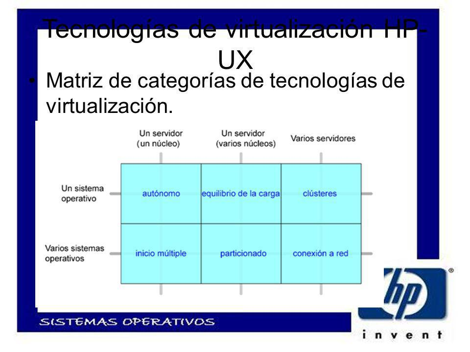 Tecnologías de virtualización HP- UX Matriz de categorías de tecnologías de virtualización.