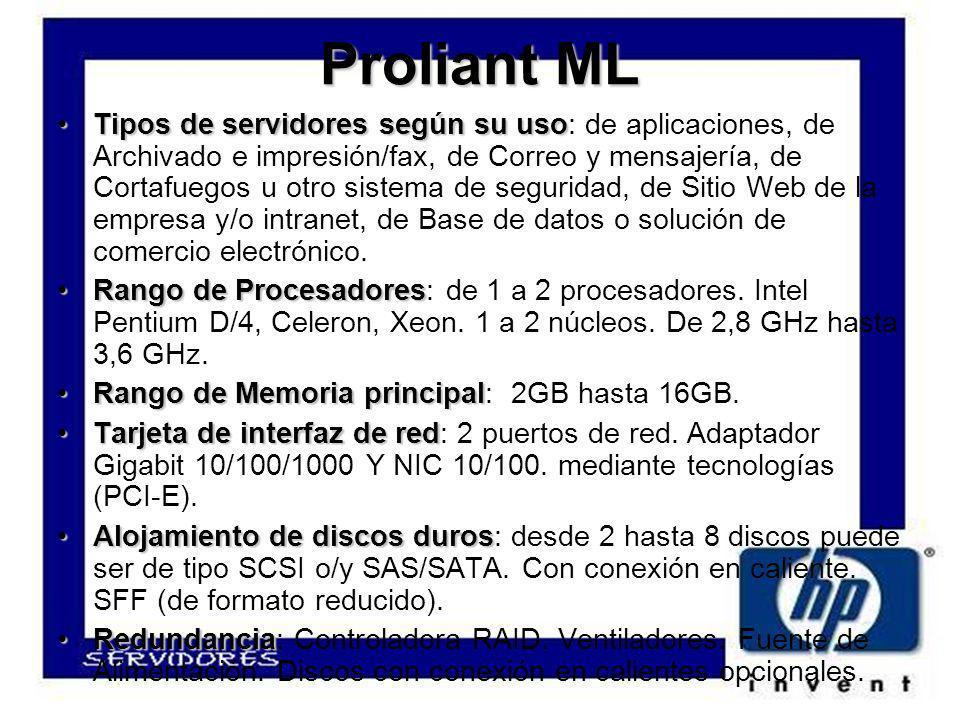 ProliantML Proliant ML Tipos de servidores según su usoTipos de servidores según su uso: de aplicaciones, de Archivado e impresión/fax, de Correo y mensajería, de Cortafuegos u otro sistema de seguridad, de Sitio Web de la empresa y/o intranet, de Base de datos o solución de comercio electrónico.