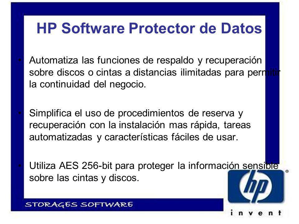 HP Software Protector de Datos Automatiza las funciones de respaldo y recuperación sobre discos o cintas a distancias ilimitadas para permitir la continuidad del negocio.