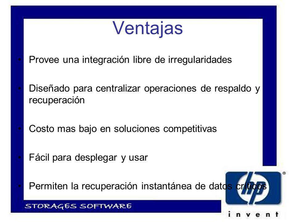 Ventajas Provee una integración libre de irregularidades Diseñado para centralizar operaciones de respaldo y recuperación Costo mas bajo en soluciones competitivas Fácil para desplegar y usar Permiten la recuperación instantánea de datos críticos