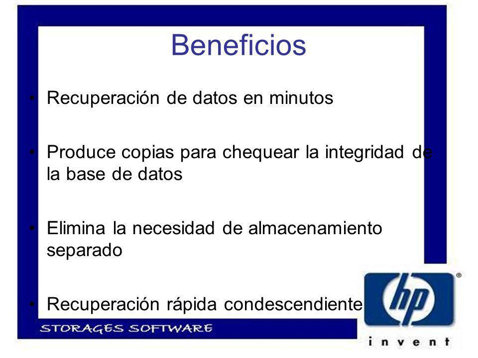 Beneficios Recuperación de datos en minutos Produce copias para chequear la integridad de la base de datos Elimina la necesidad de almacenamiento separado Recuperación rápida condescendiente
