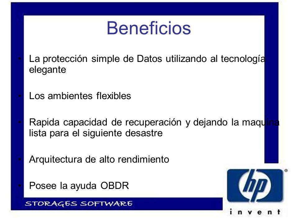 Beneficios La protección simple de Datos utilizando al tecnología elegante Los ambientes flexibles Rapida capacidad de recuperación y dejando la maquina lista para el siguiente desastre Arquitectura de alto rendimiento Posee la ayuda OBDR