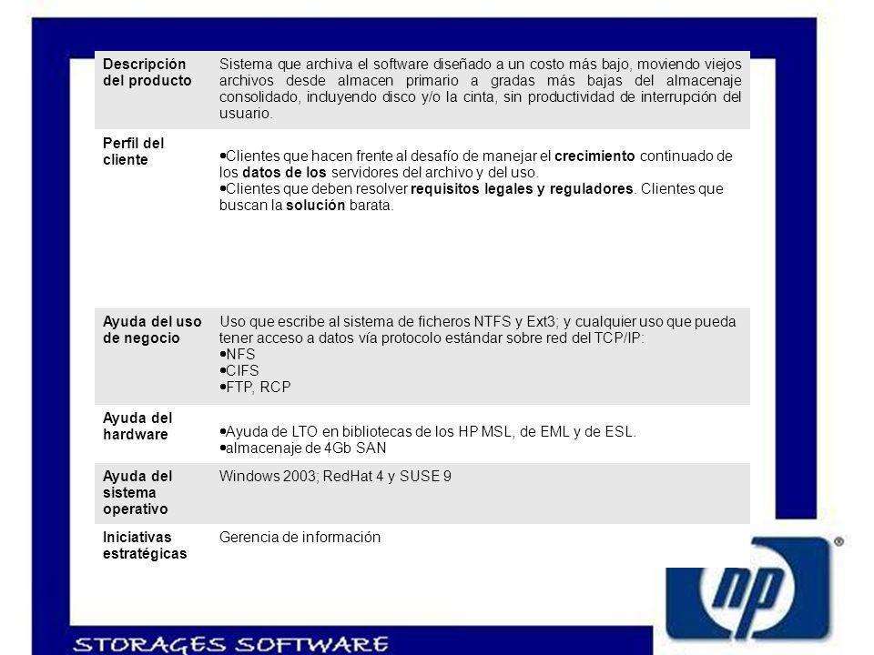 Descripción del producto Sistema que archiva el software diseñado a un costo más bajo, moviendo viejos archivos desde almacen primario a gradas más bajas del almacenaje consolidado, incluyendo disco y/o la cinta, sin productividad de interrupción del usuario.