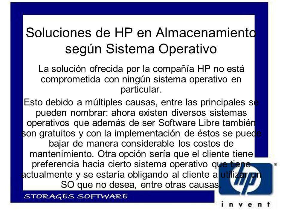 Soluciones de HP en Almacenamiento según Sistema Operativo La solución ofrecida por la compañía HP no está comprometida con ningún sistema operativo en particular.