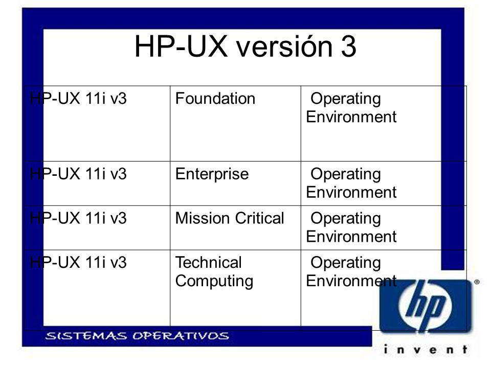 HP-UX versión 3 HP-UX 11i v3Foundation Operating Environment HP-UX 11i v3Enterprise Operating Environment HP-UX 11i v3Mission Critical Operating Environment HP-UX 11i v3Technical Computing Operating Environment