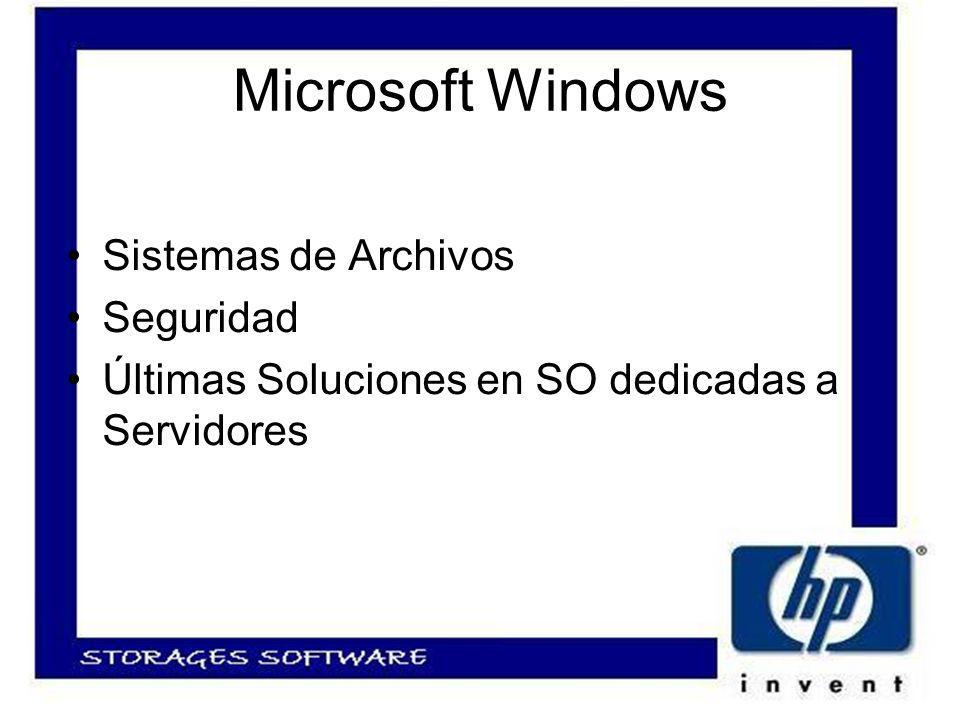 Microsoft Windows Sistemas de Archivos Seguridad Últimas Soluciones en SO dedicadas a Servidores