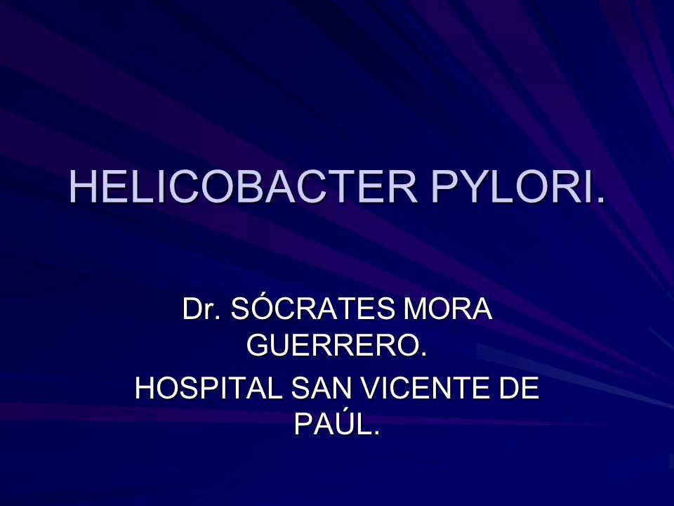 HELICOBACTER PYLORI. Dr. SÓCRATES MORA GUERRERO. HOSPITAL SAN VICENTE DE PAÚL.