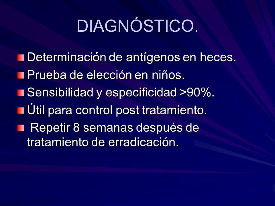 DIAGNÓSTICO. Determinación de antígenos en heces. Prueba de elección en niños. Sensibilidad y especificidad >90%. Útil para control post tratamiento.