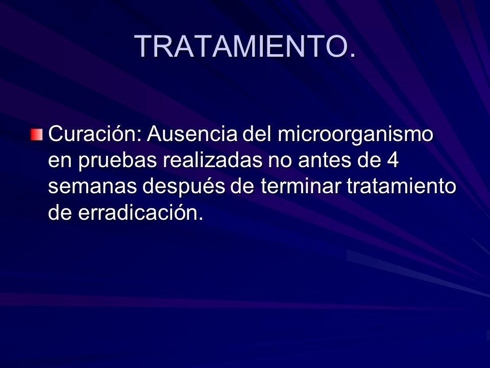 TRATAMIENTO. Curación: Ausencia del microorganismo en pruebas realizadas no antes de 4 semanas después de terminar tratamiento de erradicación.