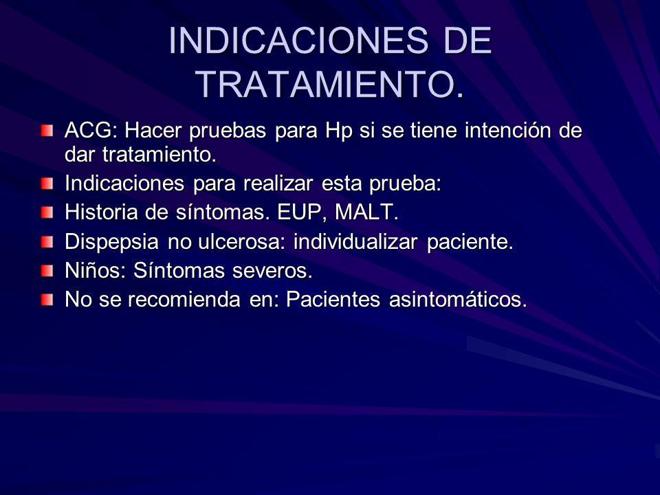 INDICACIONES DE TRATAMIENTO. ACG: Hacer pruebas para Hp si se tiene intención de dar tratamiento. Indicaciones para realizar esta prueba: Historia de
