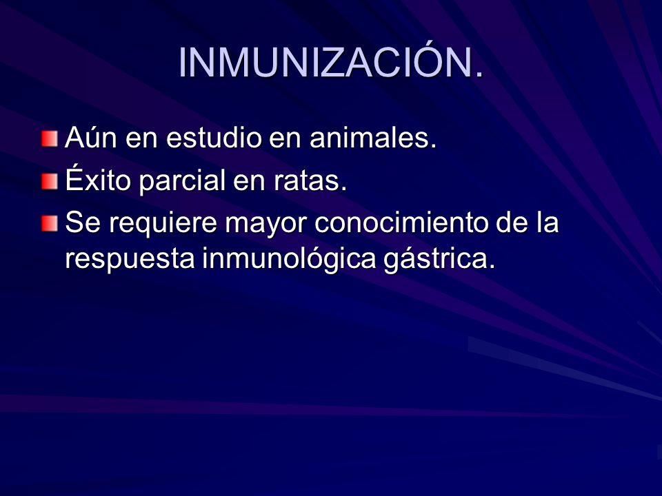 INMUNIZACIÓN. Aún en estudio en animales. Éxito parcial en ratas. Se requiere mayor conocimiento de la respuesta inmunológica gástrica.