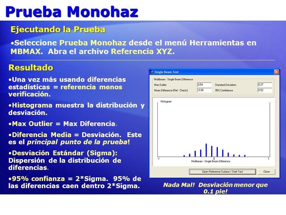 Prueba Monohaz Ejecutando la Prueba Seleccione Prueba Monohaz desde el menú Herramientas en MBMAX. Abra el archivo Referencia XYZ. Resultado Una vez m