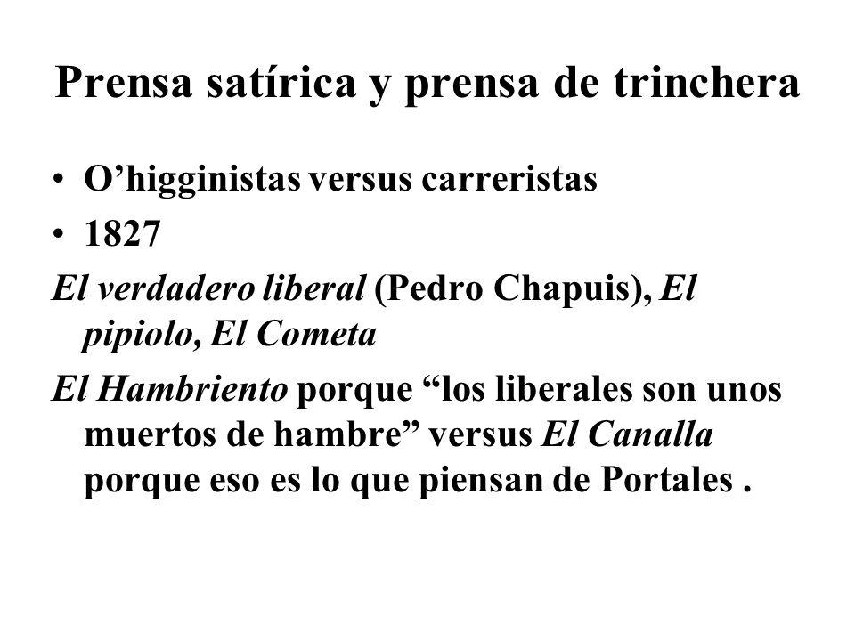Prensa satírica y prensa de trinchera Ohigginistas versus carreristas 1827 El verdadero liberal (Pedro Chapuis), El pipiolo, El Cometa El Hambriento p