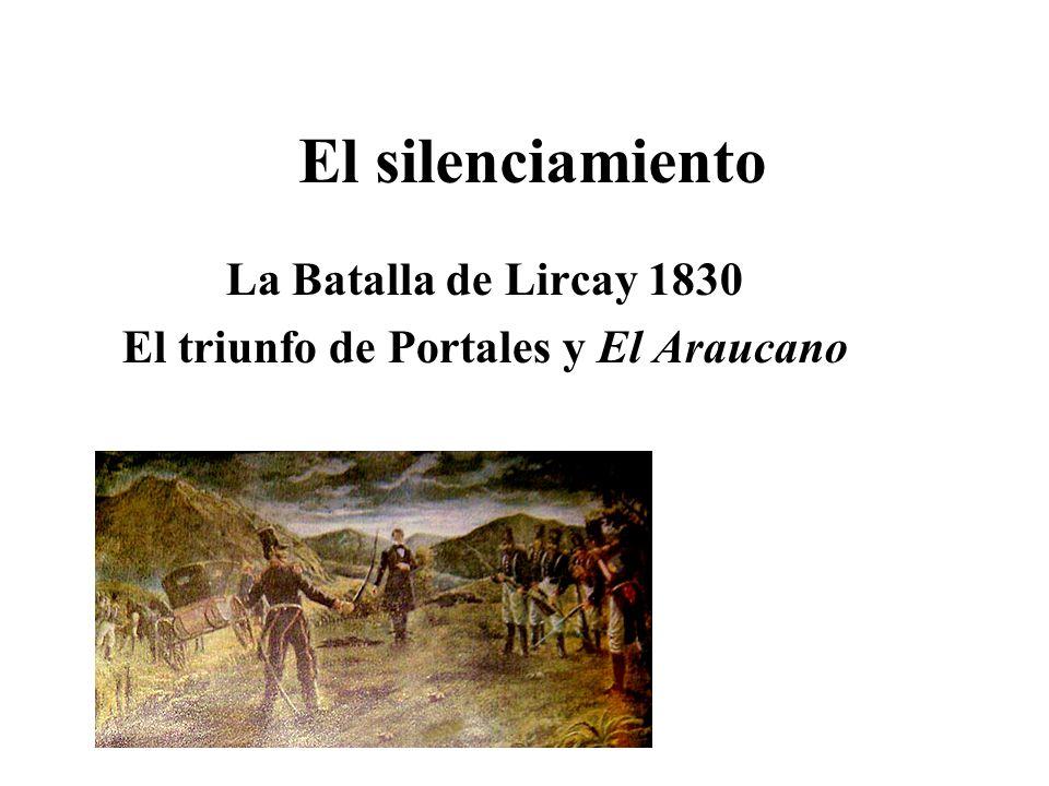 El silenciamiento La Batalla de Lircay 1830 El triunfo de Portales y El Araucano