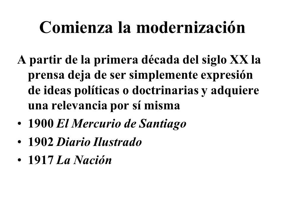 Comienza la modernización A partir de la primera década del siglo XX la prensa deja de ser simplemente expresión de ideas políticas o doctrinarias y a