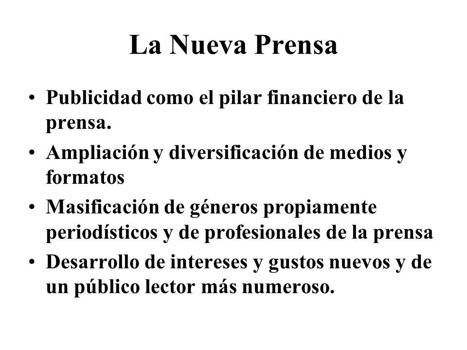 La Nueva Prensa Publicidad como el pilar financiero de la prensa. Ampliación y diversificación de medios y formatos Masificación de géneros propiament