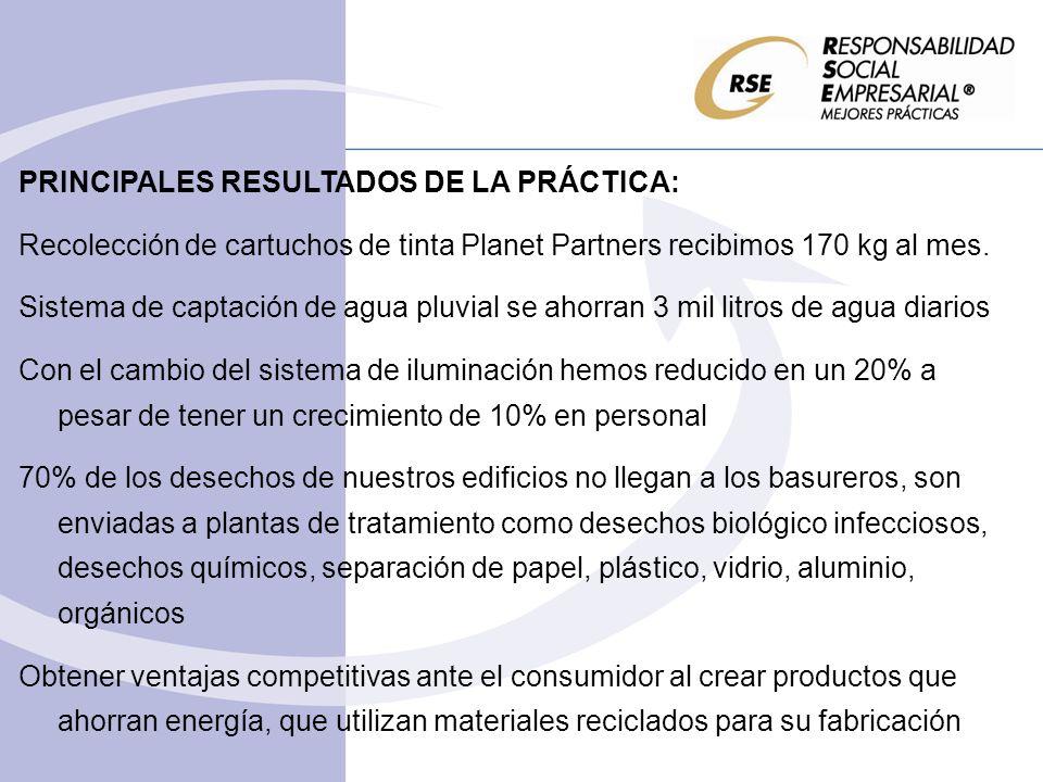 PRINCIPALES RESULTADOS DE LA PRÁCTICA: Recolección de cartuchos de tinta Planet Partners recibimos 170 kg al mes.