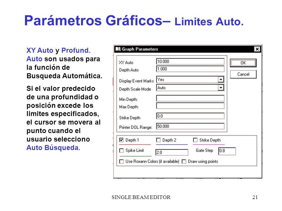 SINGLE BEAM EDITOR21 Parámetros Gráficos– Limites Auto. XY Auto y Profund. Auto son usados para la función de Busqueda Automática. Si el valor predeci
