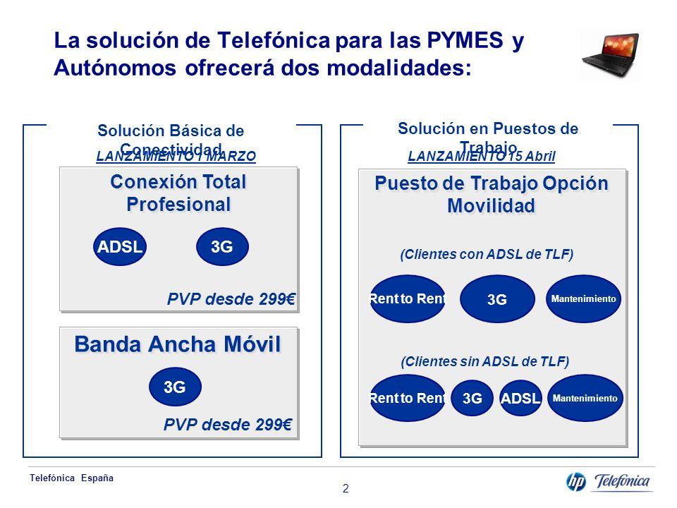Telefónica España 3 La solución de Telefonica para particulares Banda Ancha Móvil ¿Cómo se vende.
