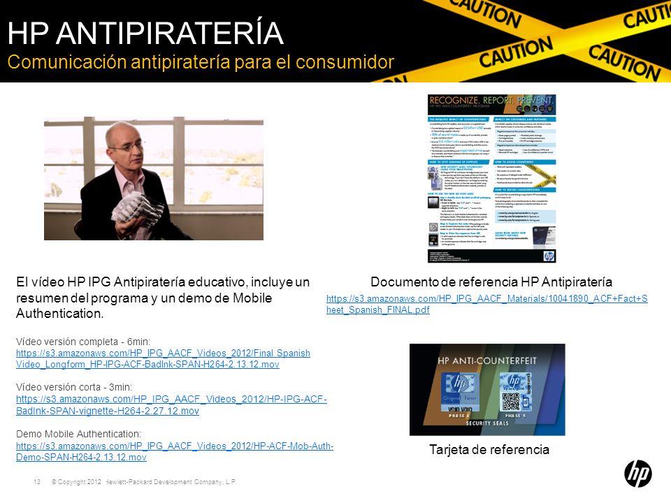 © Copyright 2011 Hewlett-Packard Development Company, L.P. 13 Comunicación antipiratería para el consumidor HP ANTIPIRATERÍA El vídeo HP IPG Antipirat