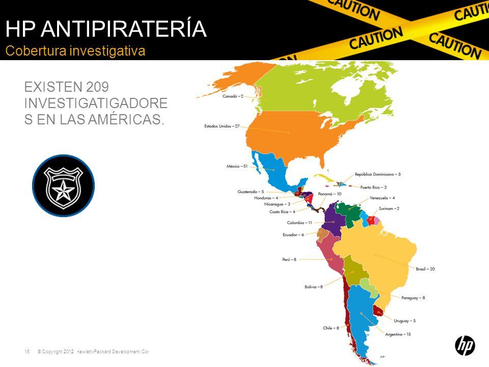 © Copyright 2011 Hewlett-Packard Development Company, L.P. 16 Cobertura investigativa HP ANTIPIRATERÍA EXISTEN 209 INVESTIGATIGADORE S EN LAS AMÉRICAS