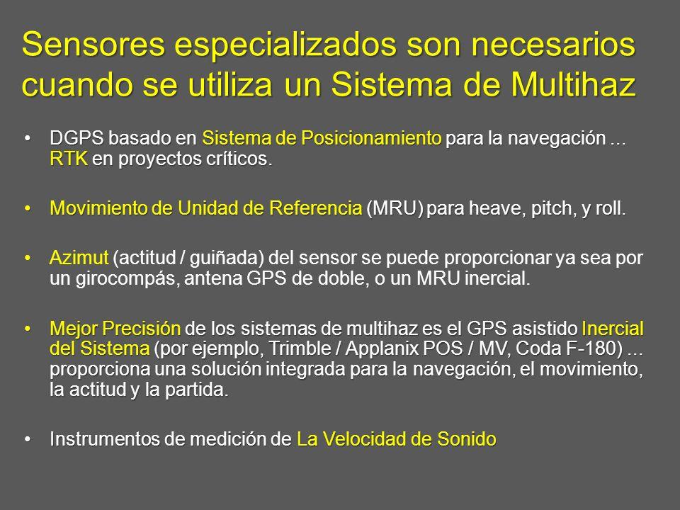 Sensores especializados son necesarios cuando se utiliza un Sistema de Multihaz DGPS basado en Sistema de Posicionamiento para la navegación... RTK en