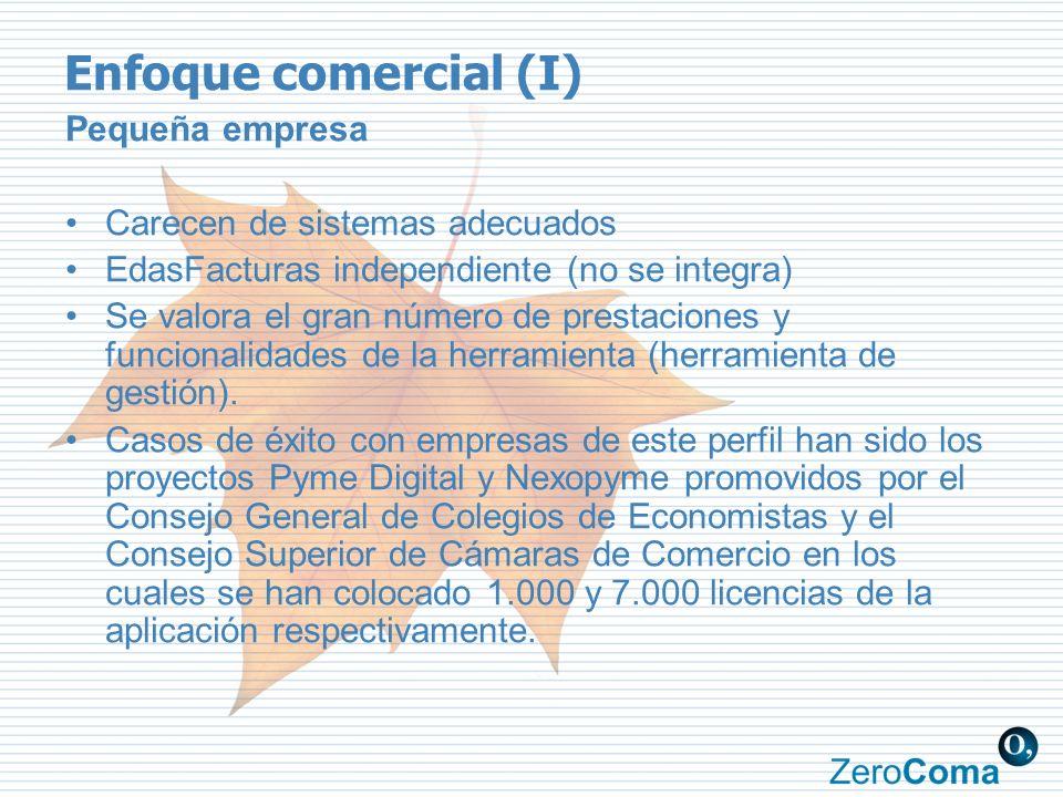 Enfoque comercial (I) Pequeña empresa Carecen de sistemas adecuados EdasFacturas independiente (no se integra) Se valora el gran número de prestacione