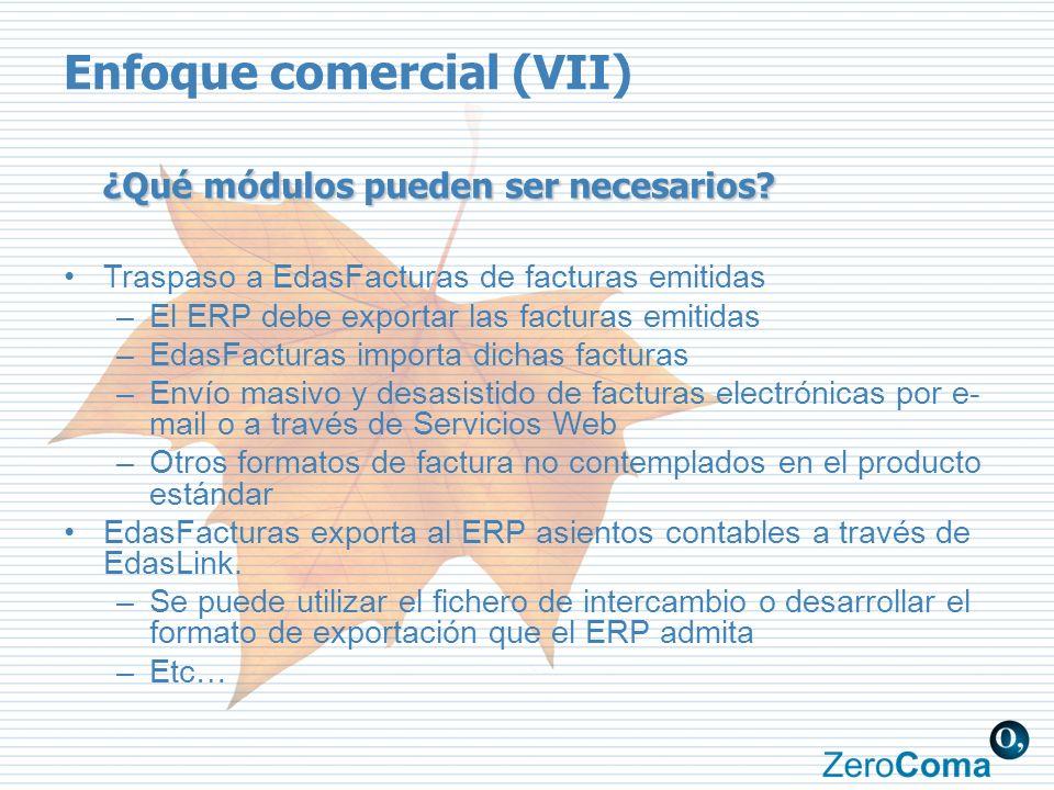 ¿Qué módulos pueden ser necesarios? Traspaso a EdasFacturas de facturas emitidas –El ERP debe exportar las facturas emitidas –EdasFacturas importa dic