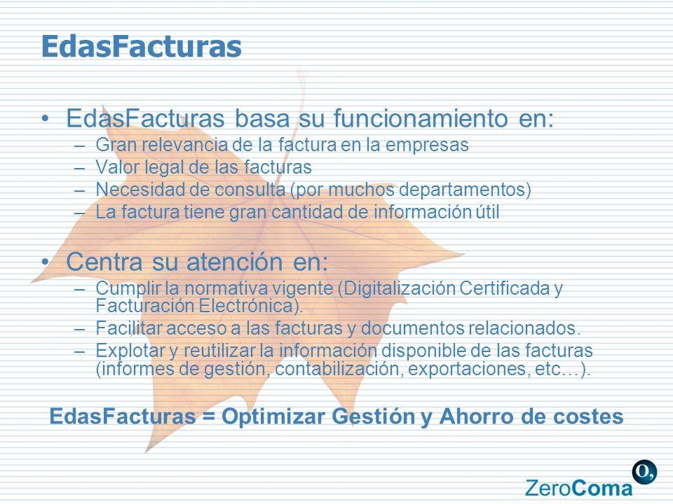 EdasFacturas EdasFacturas basa su funcionamiento en: –Gran relevancia de la factura en la empresas –Valor legal de las facturas –Necesidad de consulta