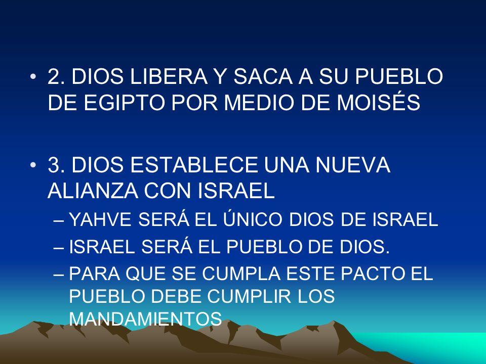 2. DIOS LIBERA Y SACA A SU PUEBLO DE EGIPTO POR MEDIO DE MOISÉS 3. DIOS ESTABLECE UNA NUEVA ALIANZA CON ISRAEL –YAHVE SERÁ EL ÚNICO DIOS DE ISRAEL –IS