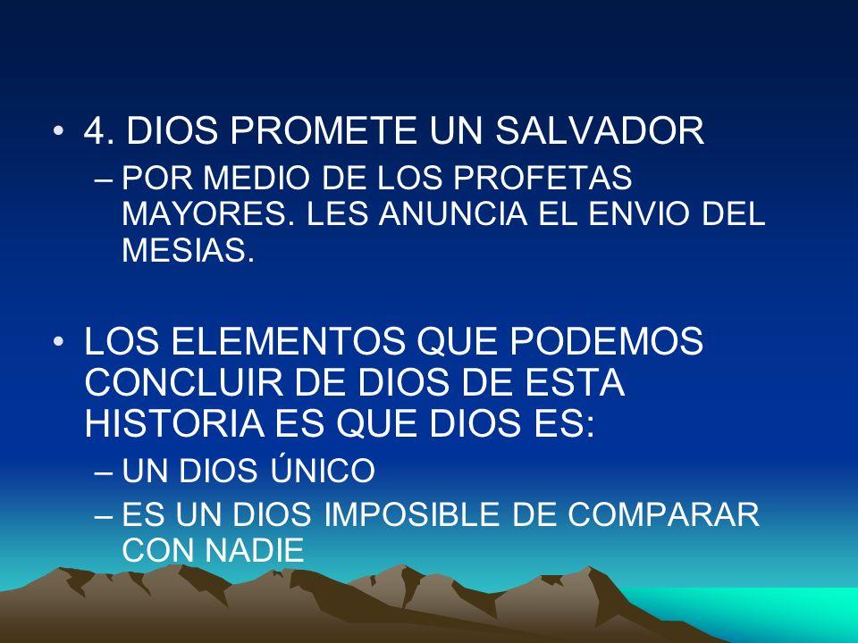 4. DIOS PROMETE UN SALVADOR –POR MEDIO DE LOS PROFETAS MAYORES. LES ANUNCIA EL ENVIO DEL MESIAS. LOS ELEMENTOS QUE PODEMOS CONCLUIR DE DIOS DE ESTA HI
