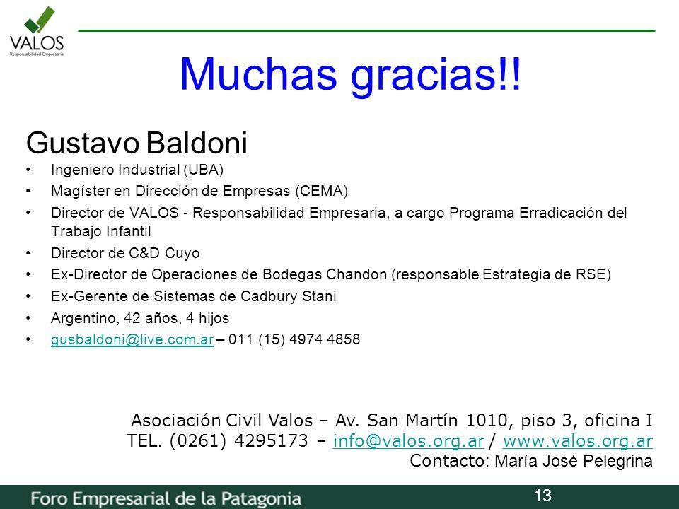 13 Gustavo Baldoni Ingeniero Industrial (UBA) Magíster en Dirección de Empresas (CEMA) Director de VALOS - Responsabilidad Empresaria, a cargo Program