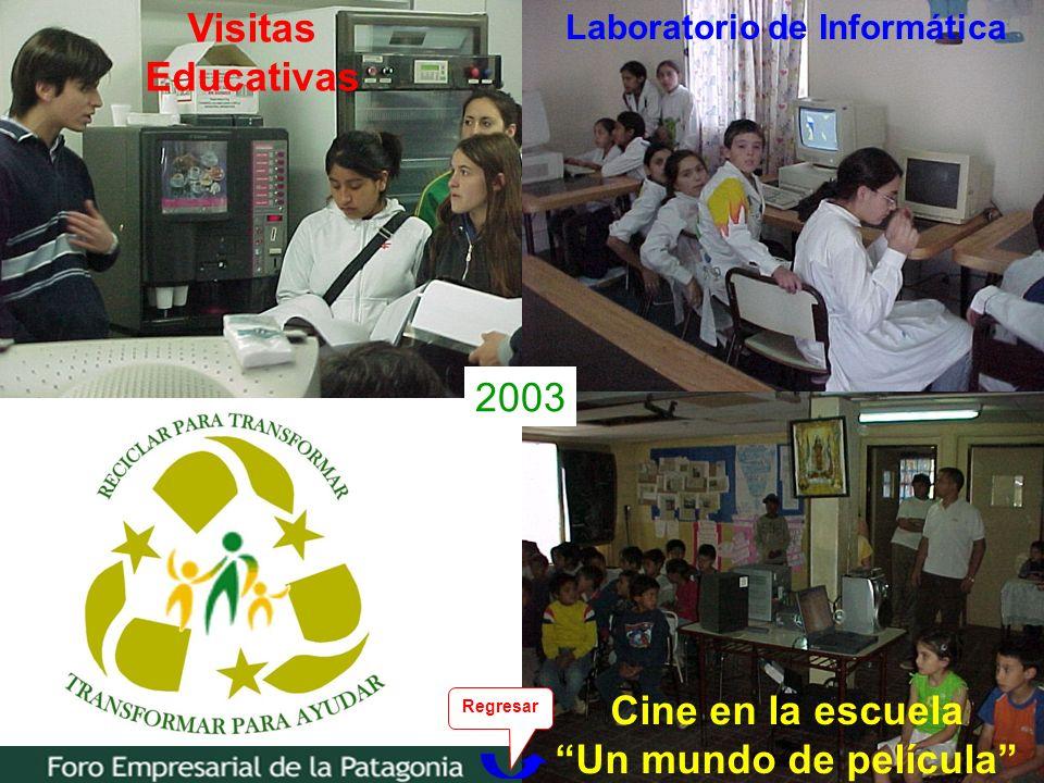 17 Visitas Educativas Cine en la escuela Un mundo de película Laboratorio de Informática 2003 Regresar