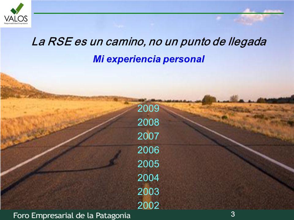3 La RSE es un camino, no un punto de llegada 2002 2008 2007 2005 2003 2006 2009 2004 Mi experiencia personal