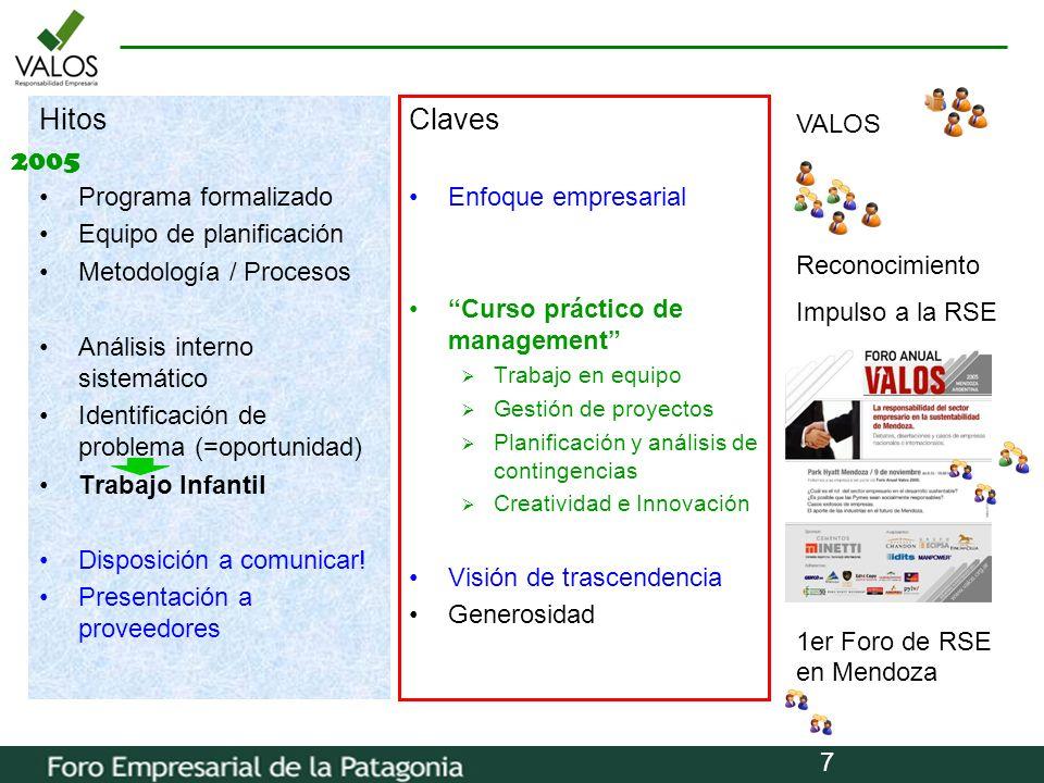 7 Hitos Programa formalizado Equipo de planificación Metodología / Procesos Análisis interno sistemático Identificación de problema (=oportunidad) Tra