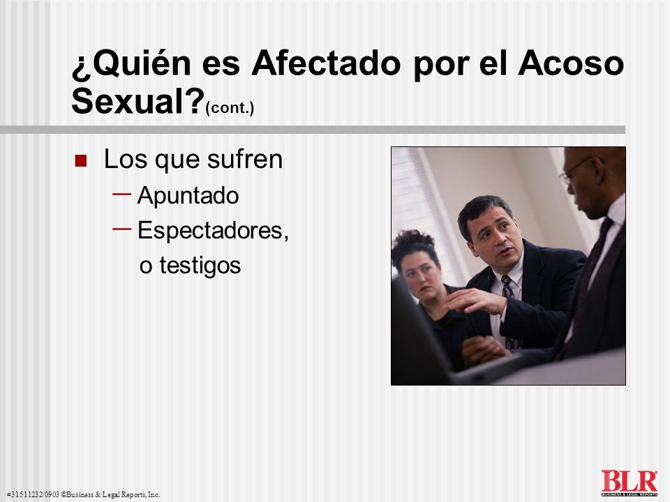 #31511232/0903 ©Business & Legal Reports, Inc. ¿Quién es Afectado por el Acoso Sexual? (cont.) Los que sufren Apuntado Espectadores, o testigos