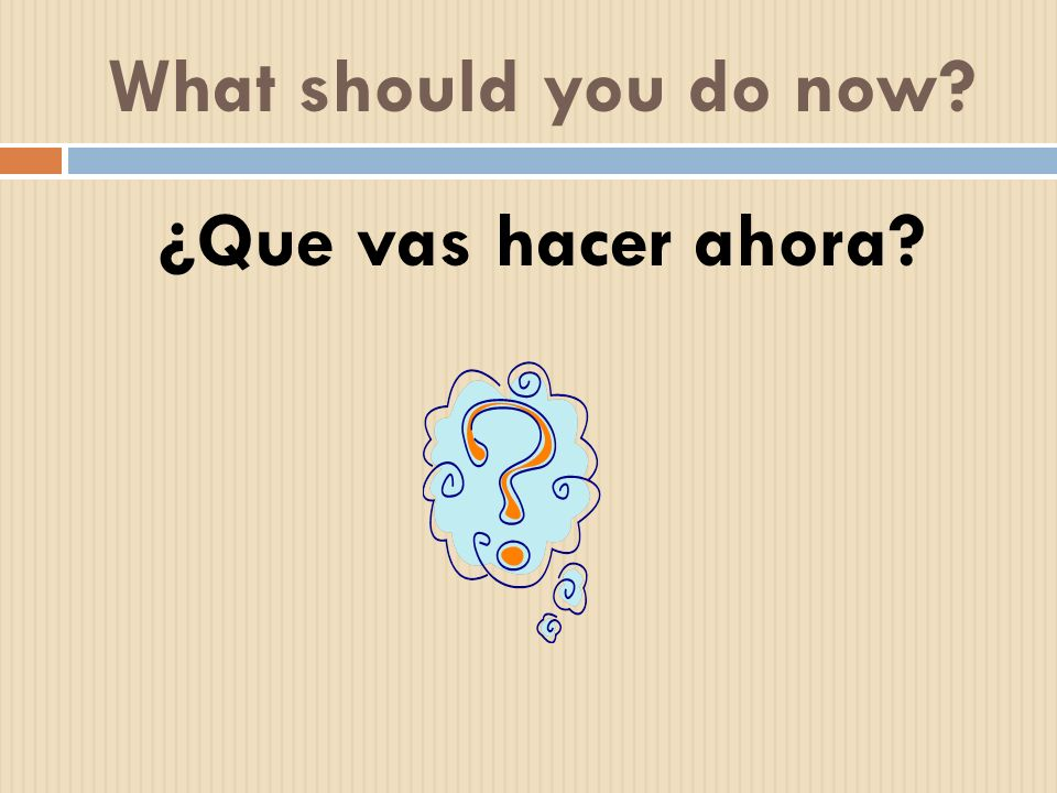 What should you do now? ¿Que vas hacer ahora?