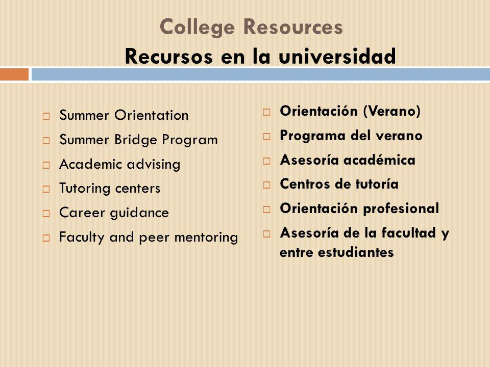 College Resources Recursos en la universidad Summer Orientation Summer Bridge Program Academic advising Tutoring centers Career guidance Faculty and p