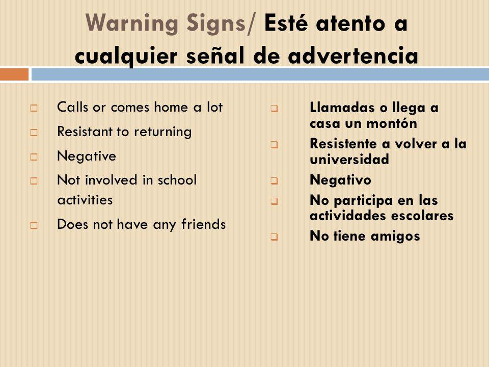Warning Signs/ Esté atento a cualquier señal de advertencia Calls or comes home a lot Resistant to returning Negative Not involved in school activitie