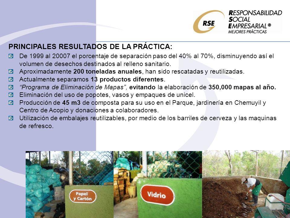 PRINCIPALES RESULTADOS DE LA PRÁCTICA: De 1999 al 20007 el porcentaje de separación paso del 40% al 70%, disminuyendo así el volumen de desechos desti