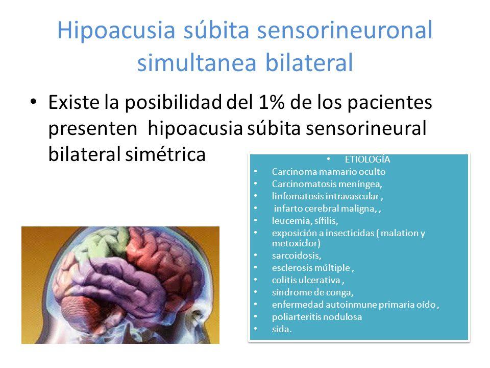 Hipoacusia súbita sensorineuronal simultanea bilateral Existe la posibilidad del 1% de los pacientes presenten hipoacusia súbita sensorineural bilater