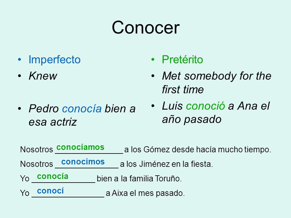 Conocer Imperfecto Knew Pedro conocía bien a esa actriz Pretérito Met somebody for the first time Luis conoció a Ana el año pasado Nosotros __________