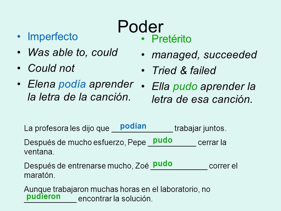 Poder Imperfecto Was able to, could Could not Elena podía aprender la letra de la canción. Pretérito managed, succeeded Tried & failed Ella pudo apren