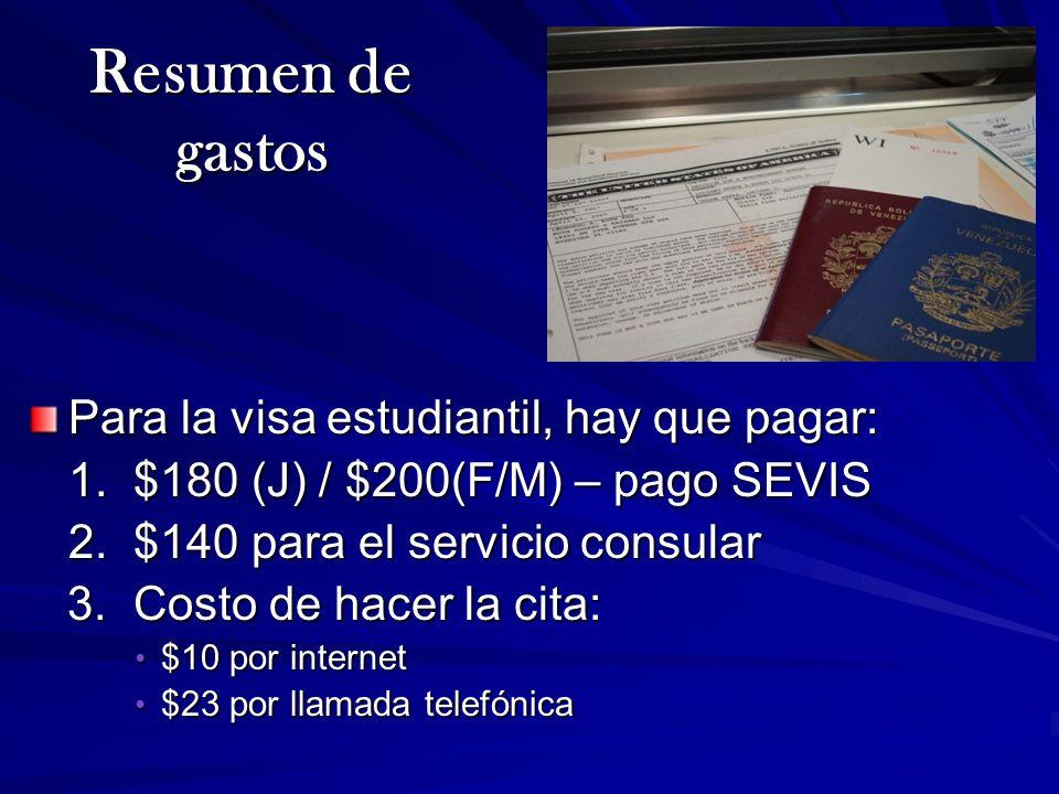 Para la visa estudiantil, hay que pagar: 1. $180 (J) / $200(F/M) – pago SEVIS 2. $140 para el servicio consular 3. Costo de hacer la cita: 3. Costo de