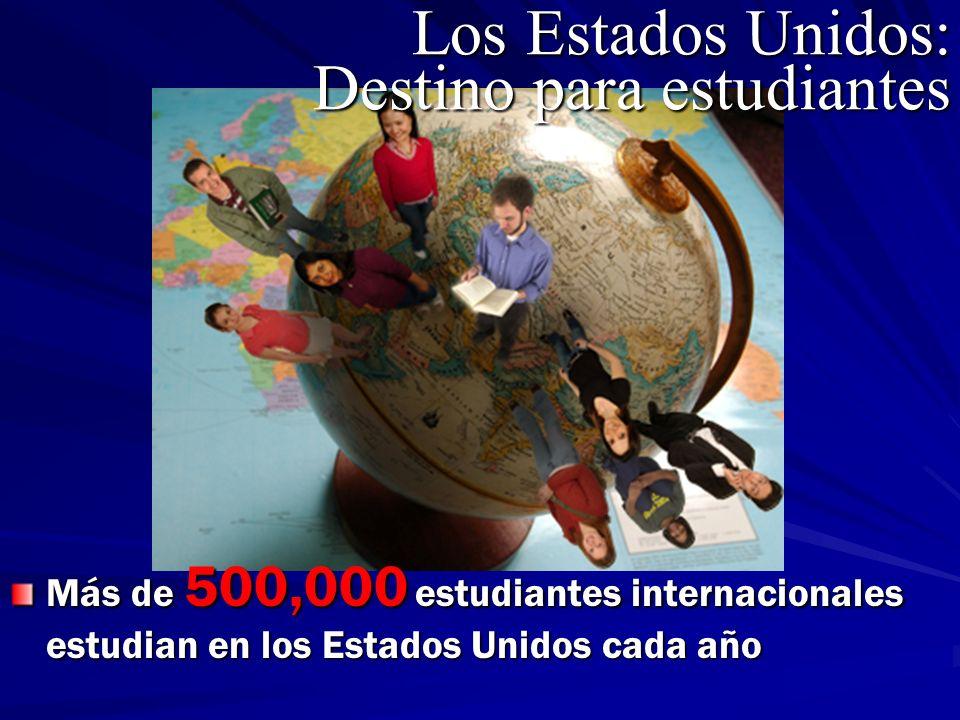 Más de 500,000 estudiantes internacionales estudian en los Estados Unidos cada año Los Estados Unidos: Destino para estudiantes