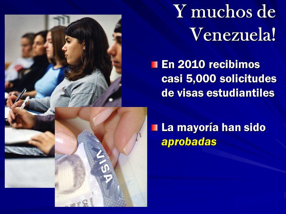 En 2010 recibimos casi 5,000 solicitudes de visas estudiantiles La mayoría han sido aprobadas Y muchos de Venezuela!