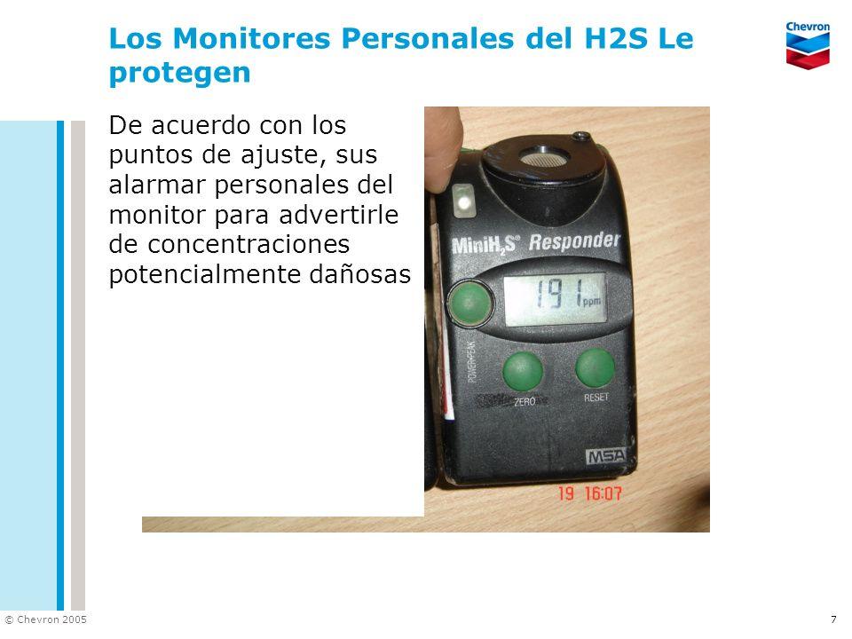 © Chevron 2005 7 Los Monitores Personales del H2S Le protegen De acuerdo con los puntos de ajuste, sus alarmar personales del monitor para advertirle de concentraciones potencialmente dañosas