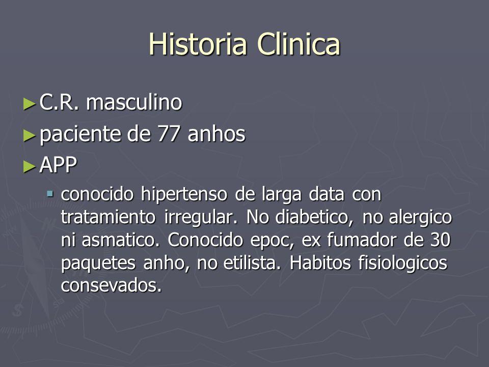 Antecedentes de la enfermedad actual Ingresa por historia de dolor precordial posterior a asistir a un sepelio de 2 dias de evolucion que irradia a miembro superior izquierdo que no cede con analgesicos comunes.