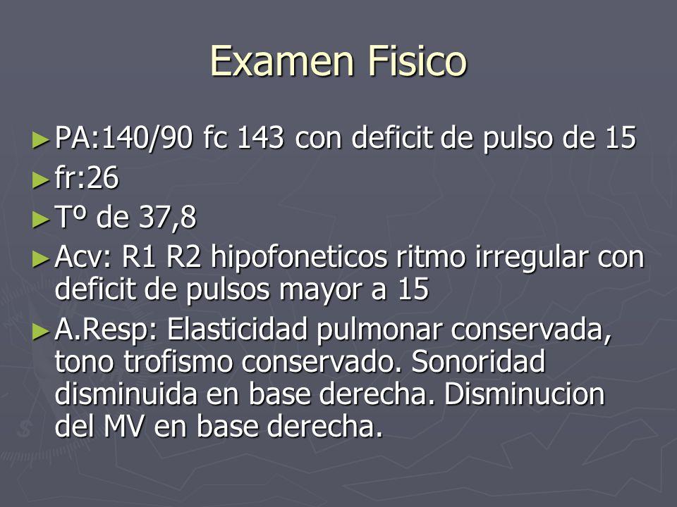 Examen Fisico PA:140/90 fc 143 con deficit de pulso de 15 PA:140/90 fc 143 con deficit de pulso de 15 fr:26 fr:26 Tº de 37,8 Tº de 37,8 Acv: R1 R2 hip