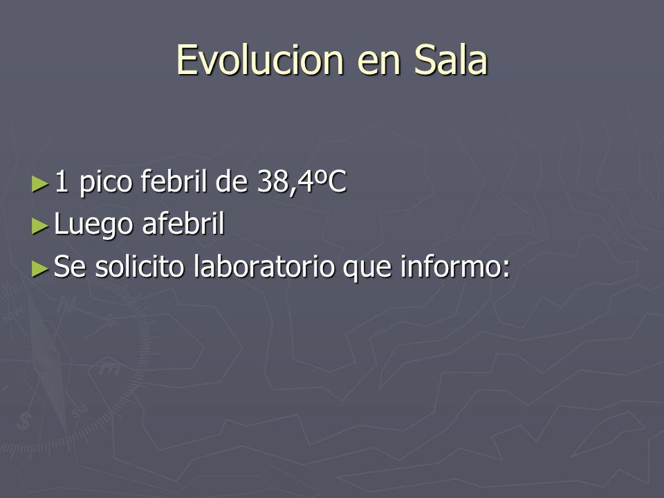 Evolucion en Sala 1 pico febril de 38,4ºC 1 pico febril de 38,4ºC Luego afebril Luego afebril Se solicito laboratorio que informo: Se solicito laborat
